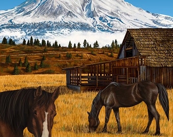 Mt. Shasta and Horses (Art Prints available in multiple sizes)