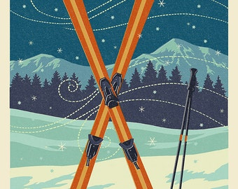 Steamboat Springs, Colorado - Crossed Skis - Letterpress (Art Prints available in multiple sizes)