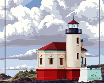 Coquille River Lighthouse - Oregon Coast (Art Prints available in multiple sizes)