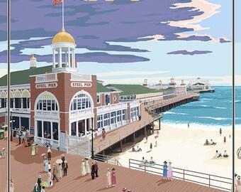 Atlantic City, New Jersey - Boardwalk (Art Prints available in multiple sizes)