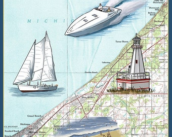 New Buffalo, Michigan - Nautical Chart (Art Prints available in multiple sizes)