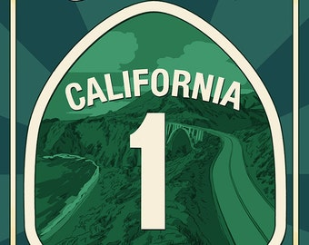 Highway 1, California - Pacific Coast Highway Sign (Art Prints available in multiple sizes)