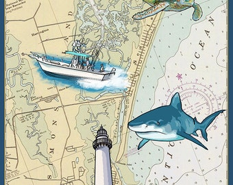 St. Simons Island, Georgia - Nautical Chart (Art Prints available in multiple sizes)