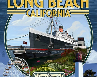Long Beach, California - Montage 3 (Art Prints available in multiple sizes)