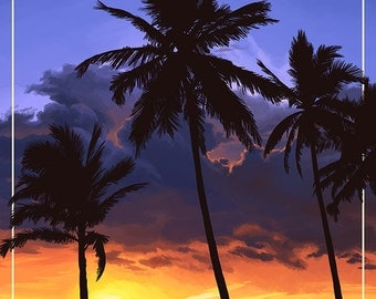 Miami, Florida - Palms and Sunset (Art Prints available in multiple sizes)