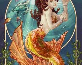 Sanibel, Florida - Mermaid (Art Prints available in multiple sizes)