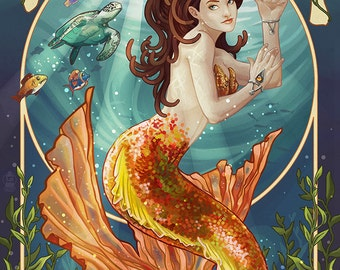 Miami, Florida - Mermaid (Art Prints available in multiple sizes)