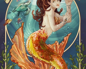 Ocean City, Maryland - Mermaid (Art Prints available in multiple sizes)