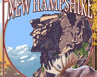 New Hampshire - Montage Scenes with Old Man (Art Prints available in multiple sizes)