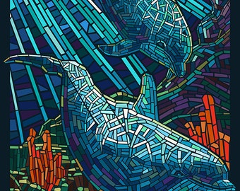 Dolphin - Paper Mosaic (Art Prints available in multiple sizes)