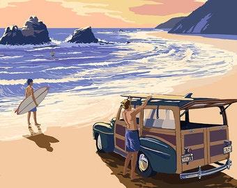 Huntington Beach, California - Woody on Beach (Art Prints available in multiple sizes)