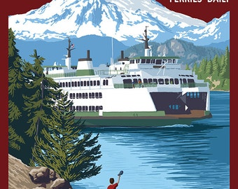 Friday Harbor, Washington - Ferry Scene with Boy (Art Prints available in multiple sizes)