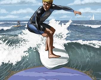 Surfer Day Scene - Pismo Beach, California (Art Prints available in multiple sizes)