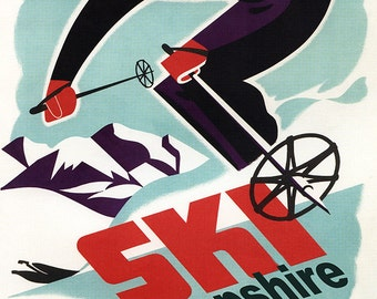 Ski New Hampshire - Retro Skier (Art Prints available in multiple sizes)