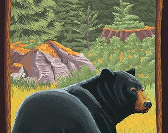Grants Pass, Oregon - Bear in Forest (Art Prints available in multiple sizes)