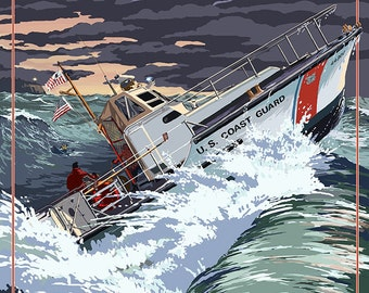 U.S. Coast Guard - 44 Foot Motor Life Boat (Art Prints available in multiple sizes)