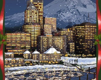 Portland, Oregon - Skyline at Night - Christmas Version (Art Prints available in multiple sizes)