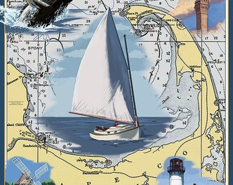 Cape Cod, Massachusetts Chart and Views (Art Prints available in multiple sizes)