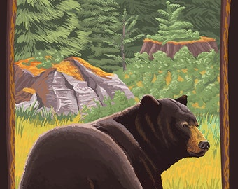 Chemainus, BC - Bear in Forest (Art Prints available in multiple sizes)