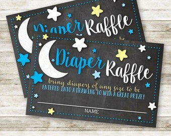 Love You to the Moon and Back Baby Shower DIY Diaper Raffle Tickets