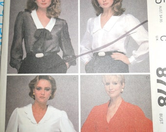McCalls 8778, Size 16, misses, womens, blouse, top, UNCUT sewing pattern, craft supplies