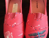 Hand Painted Cherry Blossom, Dragonfly, Dandelion, or Bird Shoes