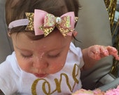 Baby/Girls Pink Gold Glitter Bow Headband/Hair Clip, pink gold birthday bow, Sparkle Bow, Wedding headband by Ruby Lovely Shop