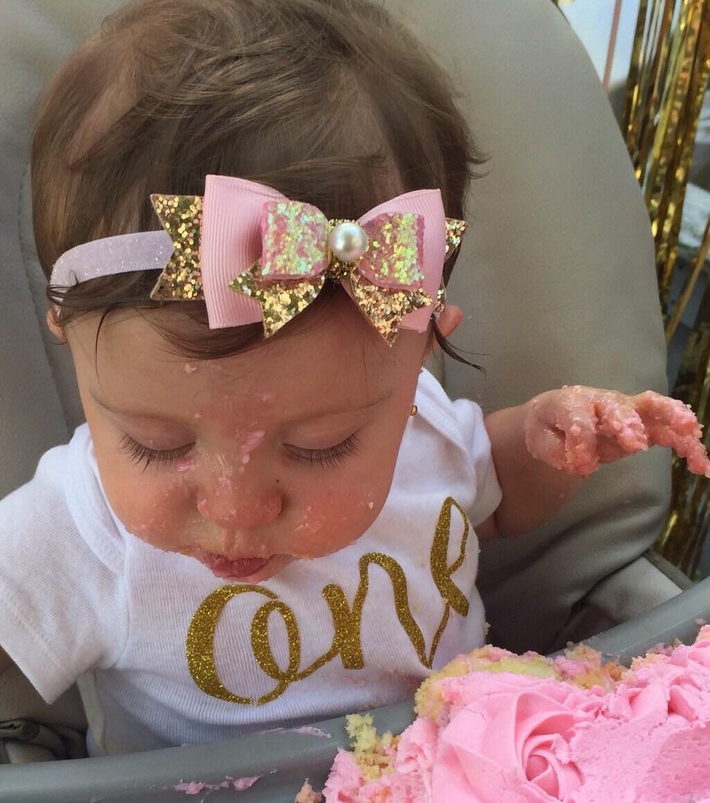 Baby/Girls Pink Gold Glitter Bow Headband/Hair Clip Pink Gold