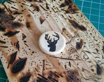 Wooden Stag Brooch