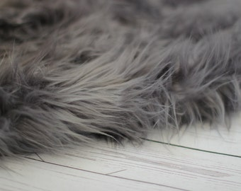 LARGE SIZE 3'x5' Soft Cozy Cuddly Charcoal Gray Faux Fur Nest Newborn Photography Prop Large Oversize Layer Stuffer Long Pile