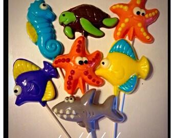 Sea creature Chocolate pops - Fish, Shark, Turtle, Seahorse, Starfish Under the sea chocolate