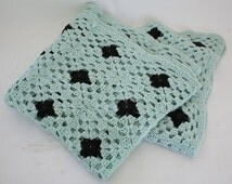 Hand Made Afghan Blanket Throw Sea foam Green & Black Granny Squares Crocheted