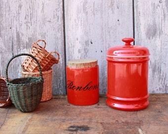 Vintage ceramic jars set of 2 red kitchen storage 70s Western Germany Waechtersbach