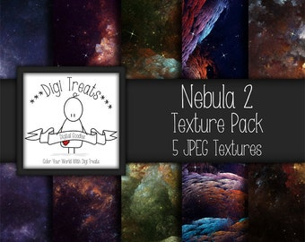 "5 Digital Textures, Nebula Textures, JPEG, Photography Textures, Scrapbook Paper, Backgrounds, 12""x12"" *Instant Download*"
