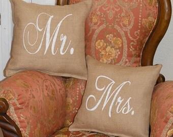 Mr. & Mrs. Burlap Throw Pillows