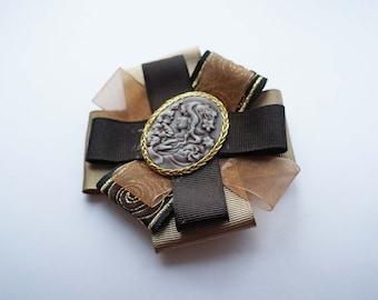 Made to order: Brooch, brown brooch, cameo brooch, cameo, vintage brooch