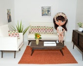 Rug, orange, 1/6 scale, Barbie scale, dollhouse, diorama, area rug, home decor, BJD, doll (Blythe, Momoko, Pullip, Obitsu, action figures)