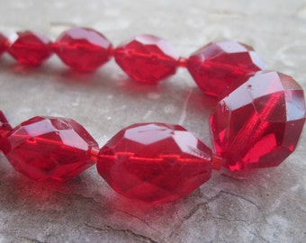 Vintage Venetian Necklace. Faceted Ruby Glass.