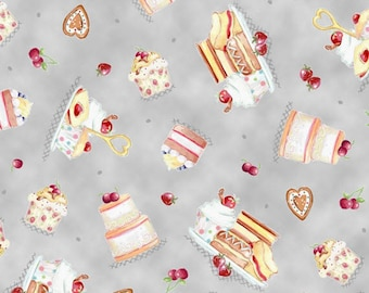 One Yard Afternoon Delight - Dessert Toss in Gray - Cotton Quilt Fabric - by Helz Cuppleditch for Quilting Treasures - 23352-K (W2851)