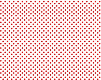 Half Yard Green Farms - On the Dot in White / Red - Cotton Quilt Fabric - by Kanvas for Benartex Fabrics 5174-09 (W2888)