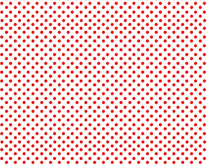 One Yard Green Farms - On the Dot in White / Red - Cotton Quilt Fabric - by Kanvas for Benartex Fabrics 5174-09 (W2888)