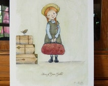 Anne of Green Gables Wall Art - Now available in larger sizes - Little Girl Room Decor - Literary Art - Watercolor Print