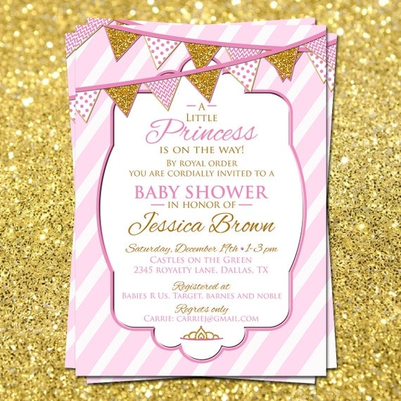 little princess baby shower invitation pink and gold