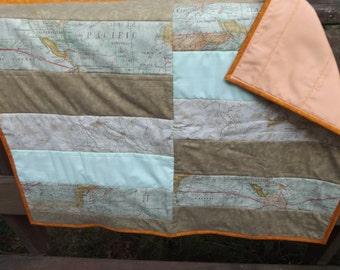 Handmade Going Places Strip Crib Quilt - Modern Crib Quilt  - Map Strip Quilt - Mint, Peach, Cream, Dark Beige