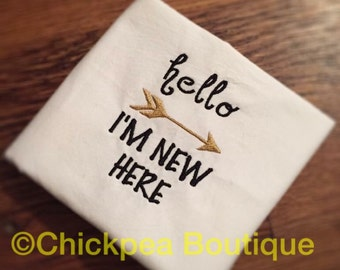 Instant Download: Hello I'm New Here Embroidery Design