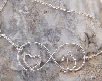 Infinity heart necklace, I love you forever necklace personalized Initial Heart Necklace, unique unusual valentine Gift, Gift For Her