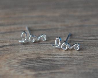 l o v e  earrings - Sterling Silver