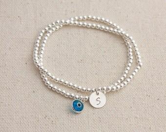 Sterling Silver Beaded Evil Eye / Initial charm Stack bracelet
