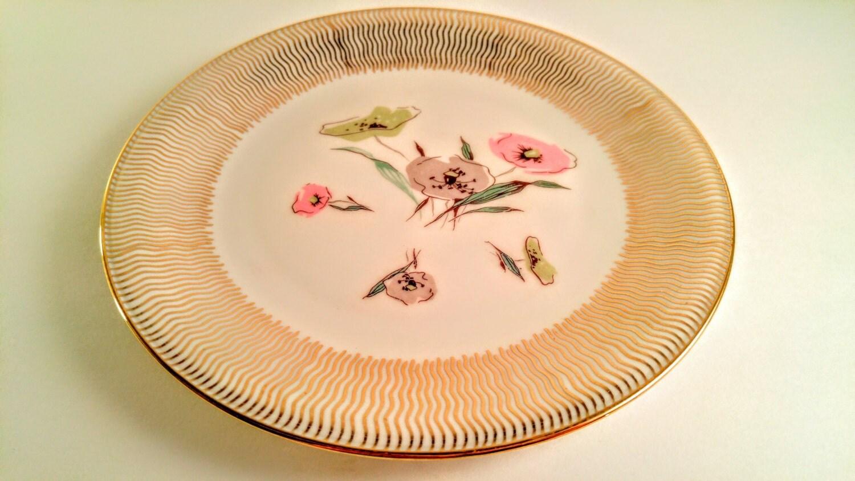 vintage bavarian elfenbein porzellan 7 inch plate with pink. Black Bedroom Furniture Sets. Home Design Ideas