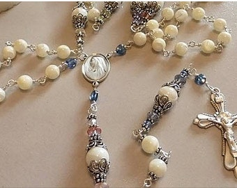 ROSARY hand wire wrapped Mother of Pearl, Sterling Silver